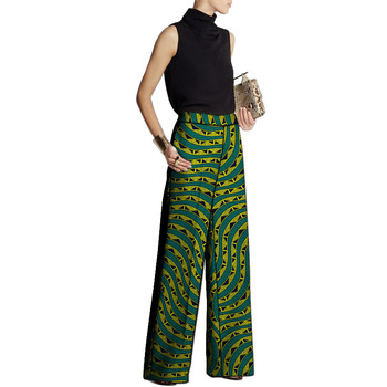 Women Loose Pants African Fashion Design African Clothes Wide Leg Pants Customized Ladies Dashiki Print Trousers 2020 african dashiki design clothes for lady print appliques with two pockets spring