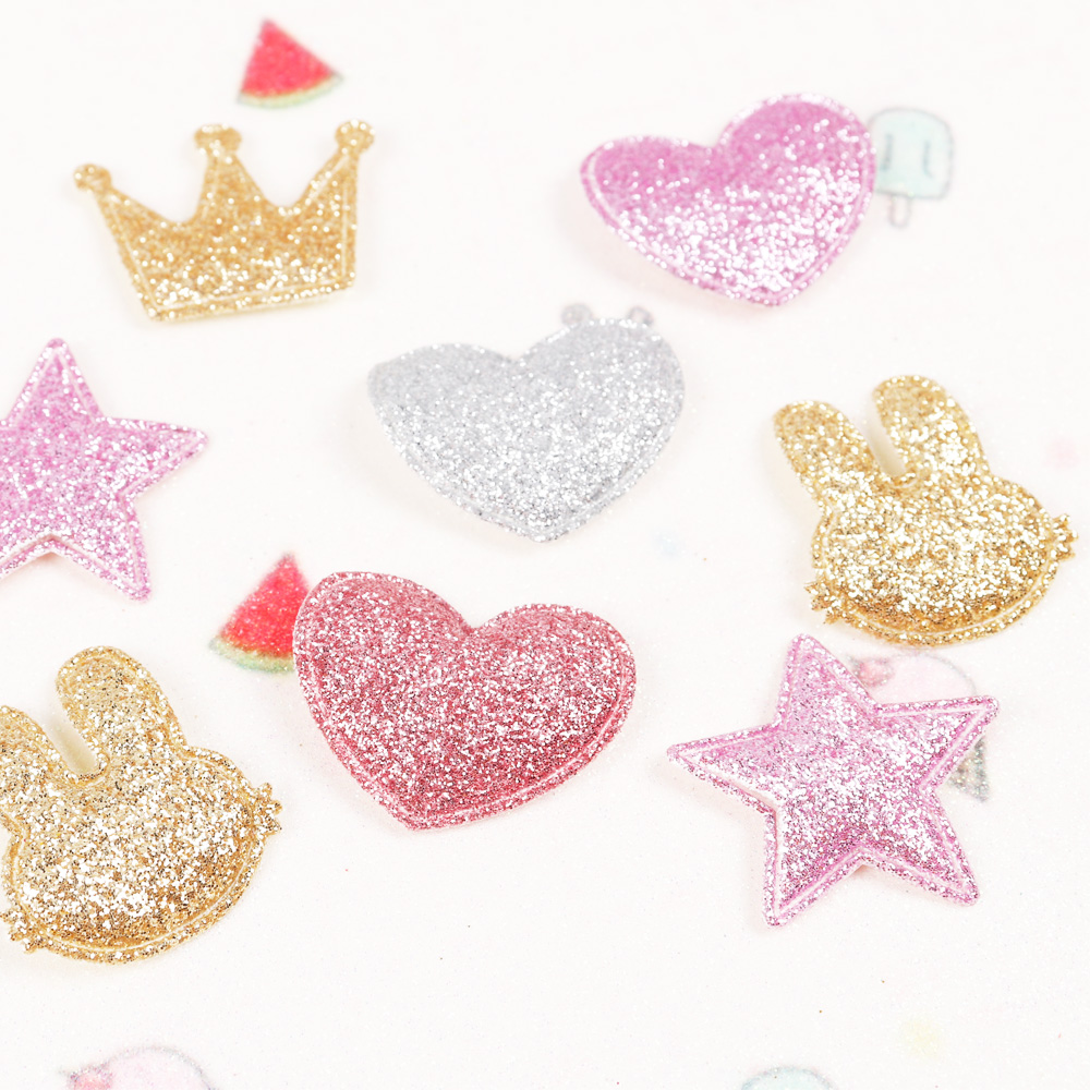 HTB1qBNLvQKWBuNjy1zjq6AOypXaX 100pcs/bag Glitter Patches Crown Rabbit Heart Pattern Cute Patch Apparel Sewing Material Patches For Clothing Garment Decorative