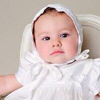 Прекрасный шелк крестильные наряды драпированные Кружево аппликации для белого цвета и цвета слоновой кости крещение тафта одежда для мал