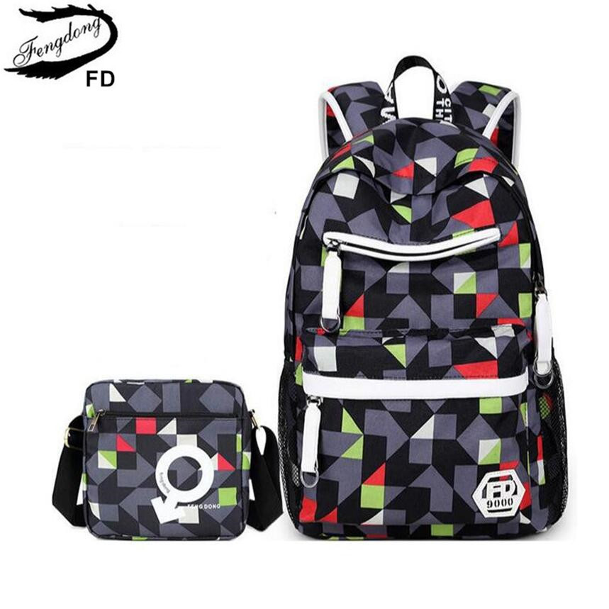 FengDong 2pcs set boys school bags bookbag rucksack high school bag large black grey red travel