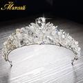 2017 Nuevo Lujoso Rhinestone Princess Crown Celada de Novia de la Corona de La Tiara de Quinceañera Tiaras Diademas Hechas A Mano HG270