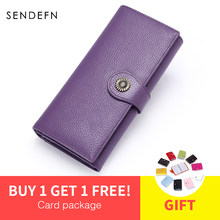SENDEFN NEW Split Leather Sale Women Clutch Leather Wallet Female Long Wallet Women Zipper Purse Strap Money Bag Purse 5209-55(China)