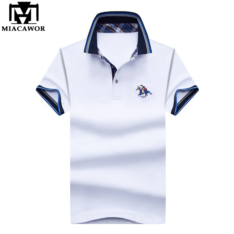 MIACAWOR New Embroidery Baseball   Polo   Shirt High Quality Cotton   Polo   Homme Slim Fit Casual Mens Clothing White MT644