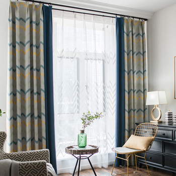 Custom curtains Nordic geometric striped Simple fashion square cotton bedroom blue drapes cloth blackout curtain tulle N355