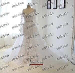 Image 2 - Реальные фотографии, свадебное платье со съемной юбкой и V образным вырезом, длинным рукавом, кружевом, стразами, кристаллами