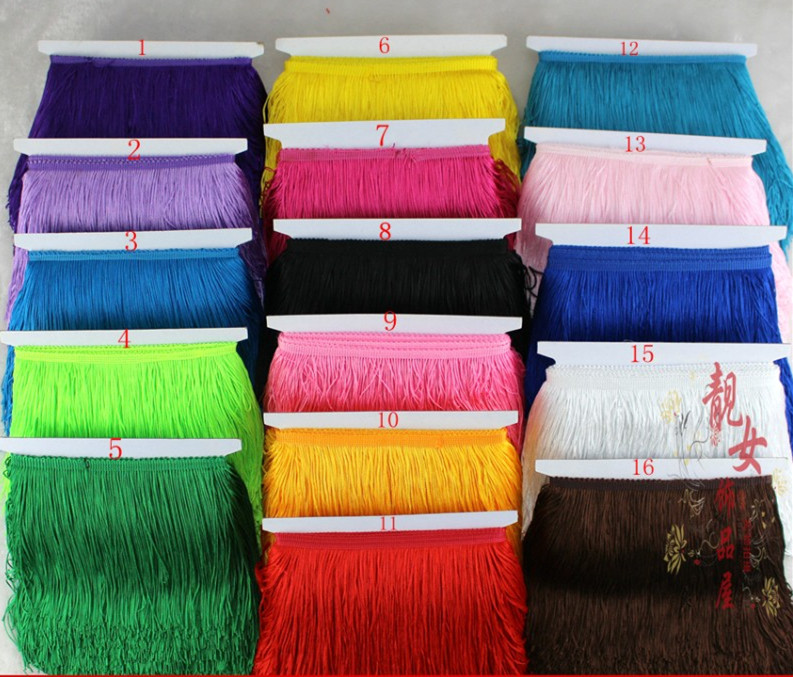 YY-tesco 5 Meter/lot 20CM Long Lace Fringe Trim Tassel Fringe Trimming For Diy Latin Dress Stage Clothes Accessories Lace Ribbon