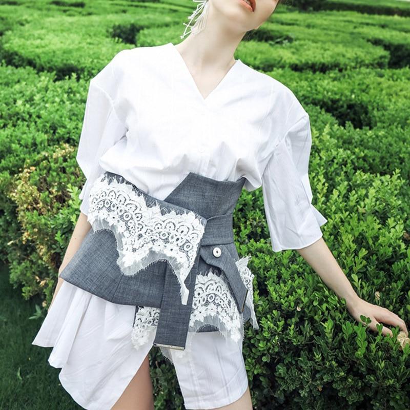 Robes De Dress Avec Ceinture Cou D'été White Blanc Dentelle Ceintures Chemise Féminine Mini Twotwinstyle Mode V Irrégulière Nouveaux Patchwork Vêtements Robe rxeWQoCBEd