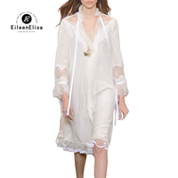 Глубокий V шеи платье рукава кружевной проектирования с расклешенными рукавами платье V шеи белое кружевное платье с длинными рукавами с по