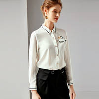 R10177 New Fashion Female Spring &Summer Clothing Pure 100% Silk Shirt Womens Tops and Blouses