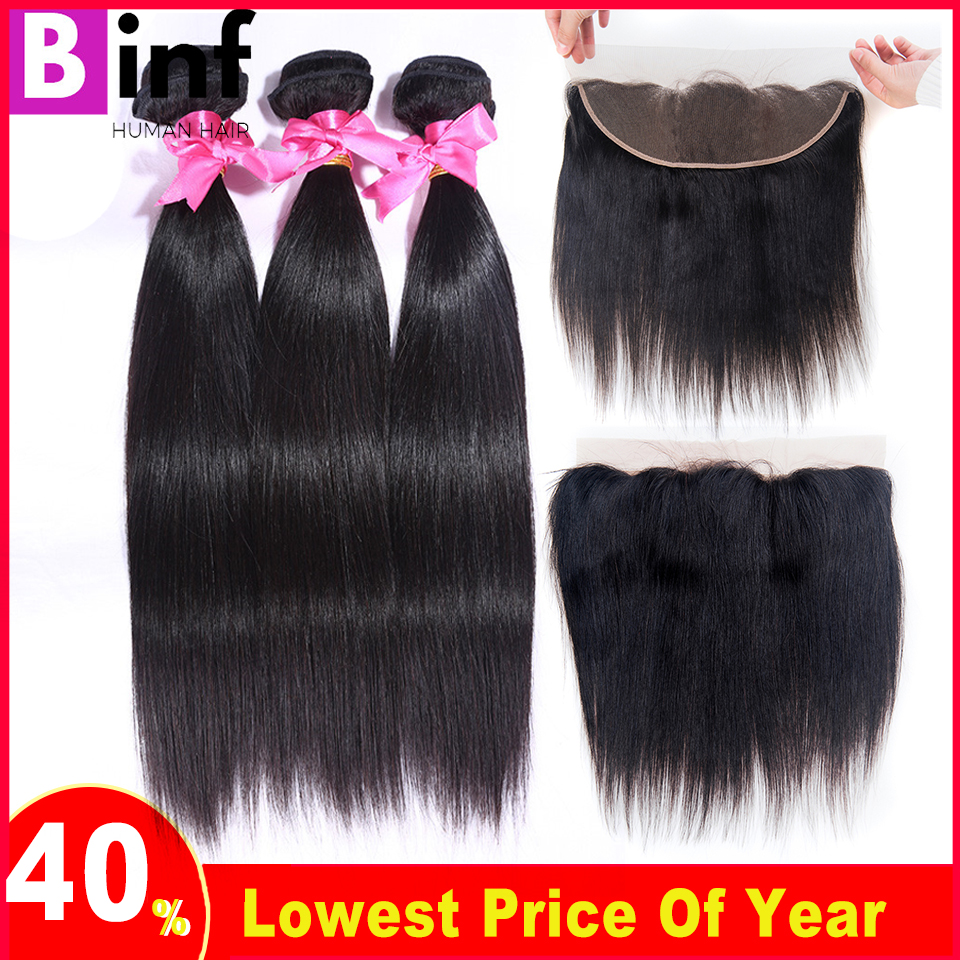 BINF Hair Brazilian Straight Hair With Closure 3 Bundles Remy Human Hair With 13 4 Free