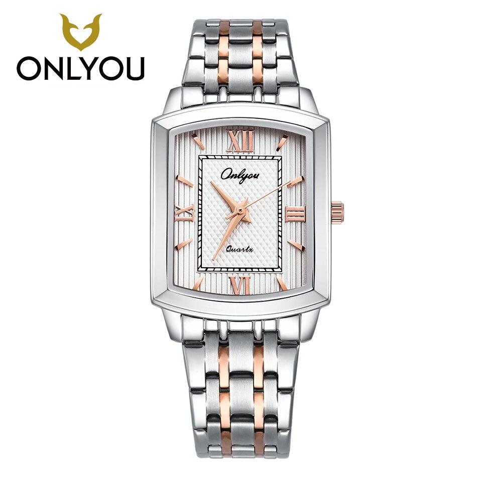 Men Watches Top Brand Luxury Square Silver Steel Band Watch Lovers Watch Waterproof Quartz Watch Dress
