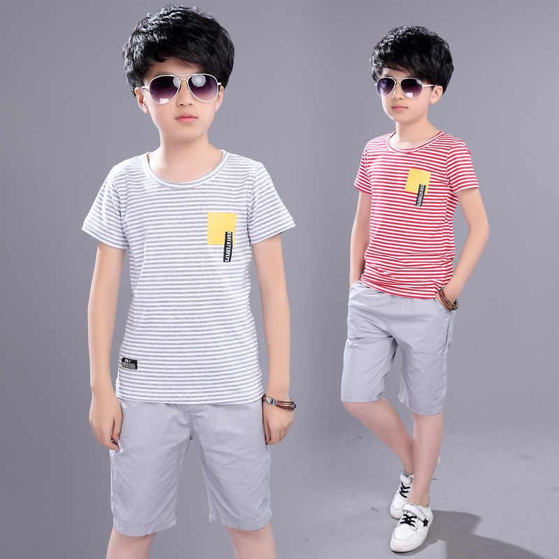 9d2b593485425 ... Kids Boys Summer New Suit Children Summer Wear In Children's Short  Sleeve +pant Two Piece ...