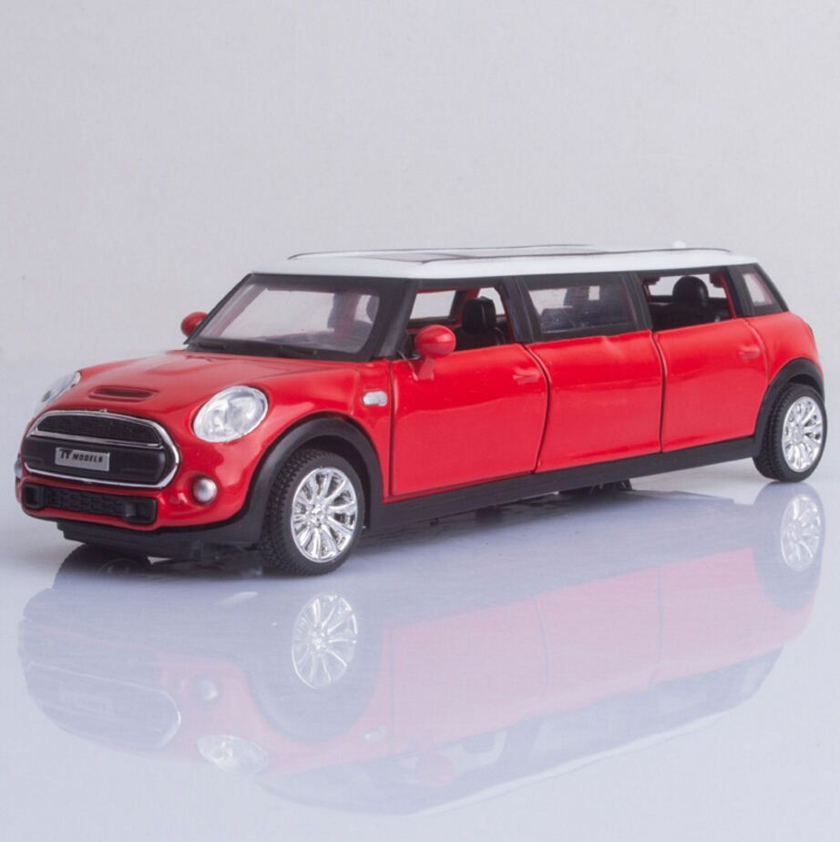 simulation 136 extended diecast car mini cooper l open door alloy pull back toys with musical and light model for kids gifts