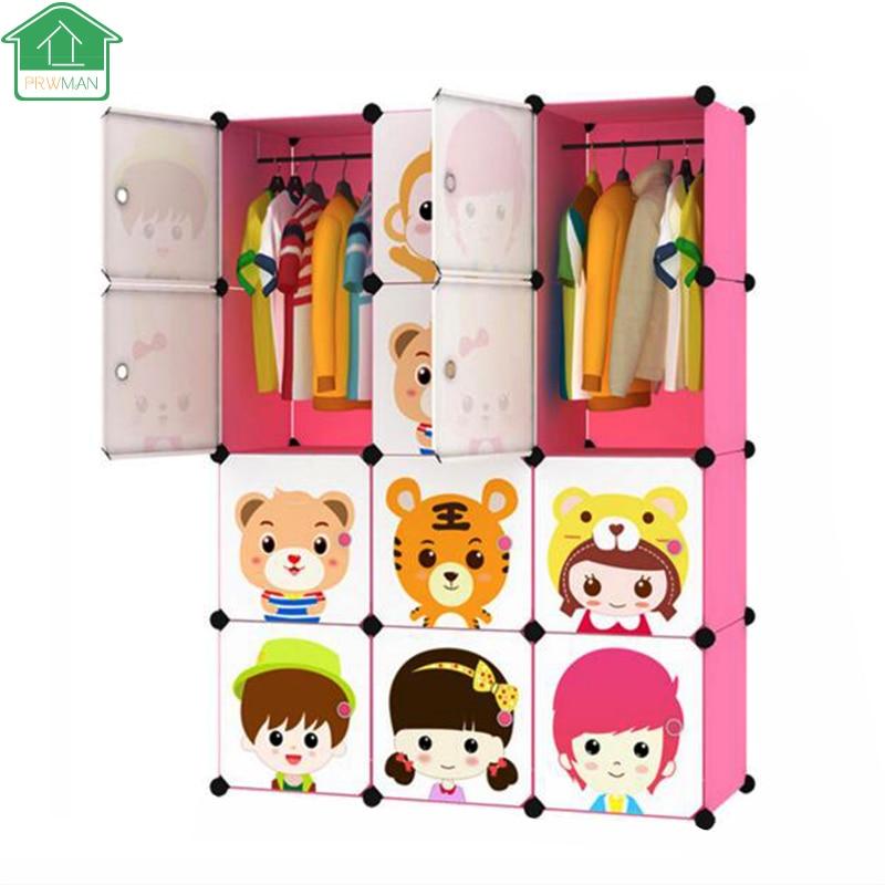 PRWMAN 12 Grid 1 Hook DIY Magic Piece of Resin Storage Cabinets Childrens Cartoon Wardrobe Simple Wardrobe Resin Assembled