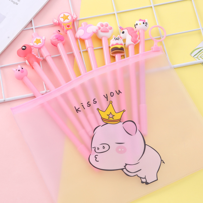 Cute Transparent Pig Cactus Pencil Case With 10 Pens Stationery Set For Boys Girls Gift School Supplies