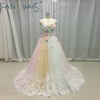 Multi color Wedding Dresses Tulle 3D flowers Bridal Gowns Rainbow Wedding Gowns Vetido de Novia 2019 robe de mariage