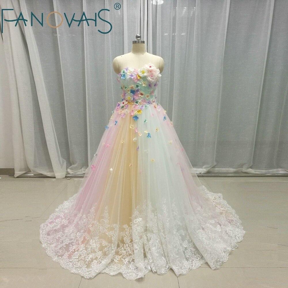 Multi color Vestidos de Casamento Tulle 3D vetido de Íris de flores Vestidos de Noiva Vestidos de Casamento 2019 robe de mariage vestido de Novia