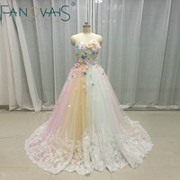 Multi color Wedding Dresses Tulle 3D flowers Bridal Gowns Rainbow Wedding Gowns Vetido de Novia 2017 robe de mariage