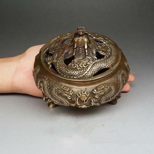 Chinese handmade antique bronze zodiac 5 dragons Tap the lid Incense Burner censer|Statues & Sculptures| |  -