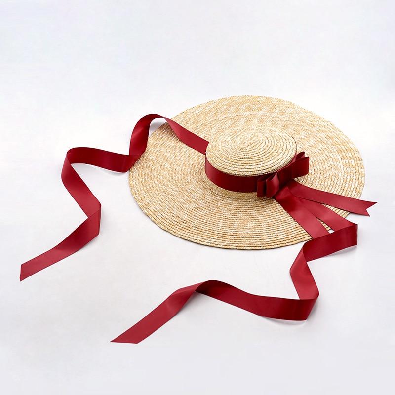 Muchique Wide Brim Straw Boater Hat for Women Ladies Beach Vintage Summer Sun Hats 2017 fashion summer girls kids children cap princess rose flower decor straw beach sun wide brim hat