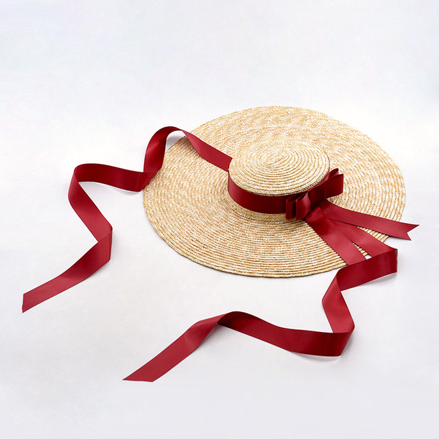 a0899125 Wide Brim Straw Boater Hat Female Women's Vintage Summer Beach Sun Hat with Ties  UV Protection Vacation Hats 671074