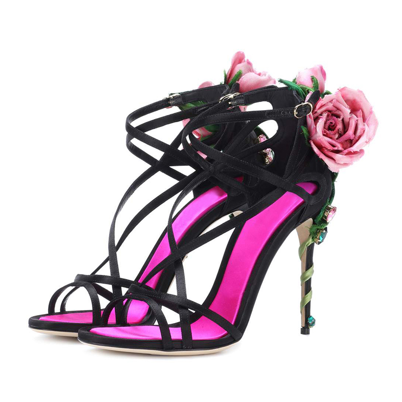 Open-Minded Sestito 2019 Newest Women 3d Mesh Butterfly Embellished High Heels Ankle Strap Sandals Ladies Peep Toe Narrow Band Dress Shoes Heels Shoes
