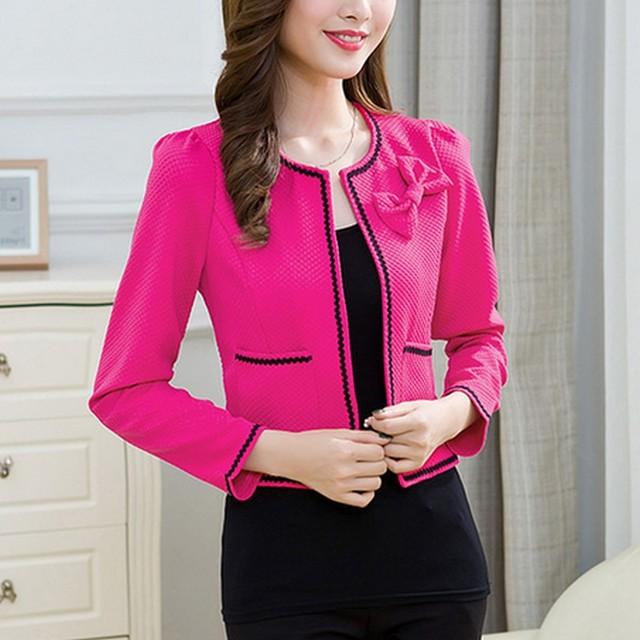 Fashion Hit Color Elegant Women Blazers Round Neck Long Sleeve Formal Jackets S-3XL Casaco Patch Bow Knot Slim Women Blazers 2