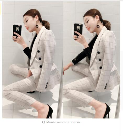 High qualitySuit Women Autumn Stylish Work Houndstooth Notched Double Breasted Slim Polyester Womens Business Suits Two-piece