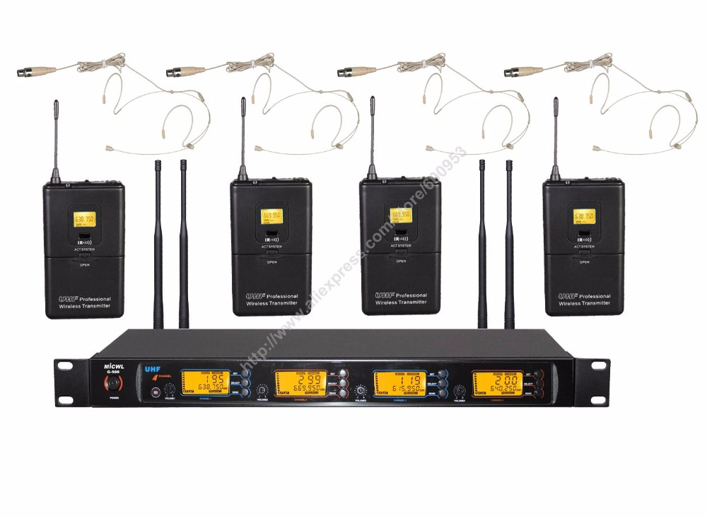 400 Channel UHF G900 Series Wireless Microphone System 4 Beige Skin Headset Hook Mic high end uhf 8x50 channel goose neck desk wireless conference microphones system for meeting room