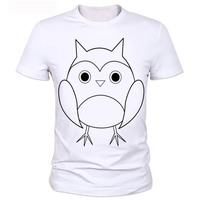 New fashion plus size men clothing t shirt sexy tops tee clothes T-shirt Stereo owl pattern white Factory direct sale 2-31#