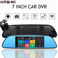 Dual Lens 7 1080P 3G Car DVR Rearview Mirror Camera Quad Core Android5 0 Bluetooth Wifi