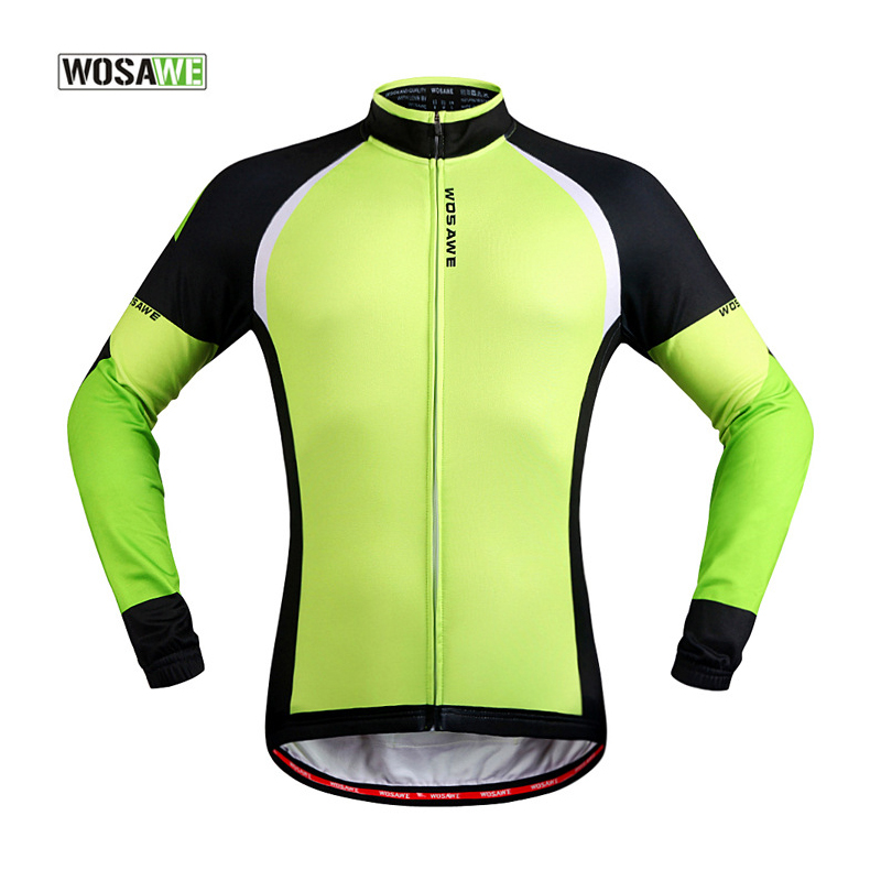 WOSAWE Cycling Clothing Men/Women Cycling Jersey Fleece Themal Windproof Bike Clothes Long Sleeve MTB Jacket Green Downhill 50  wosawe outdoor sports windproof winter long sleeve cycling jacket unisex fleece thermal mtb riding bike jersey men s coat
