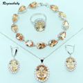 Reginababy Orange Morganite Silver color Overlay Jewelry Sets For Women Bracelet  Earring Necklace Ring Pendant