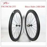 New U Shape Carbon Bike Wheels 50mm X 25mm Clincher Tubeless Ready Bitex Hubs 24h Front