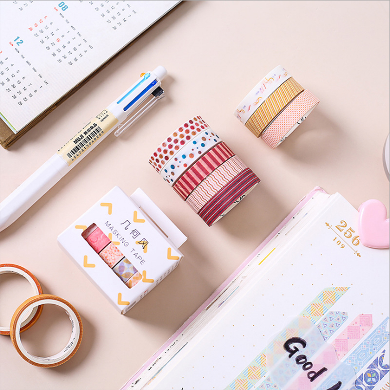 5 Pcs/Lot Geometric Color Dot Decoration Washi Tape DIY Decorative Scrapbooking Sticker Planner Masking Adhesive Tape Label