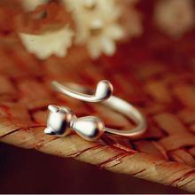 Женское Открытое кольцо с котом маленькое ювелирное изделие