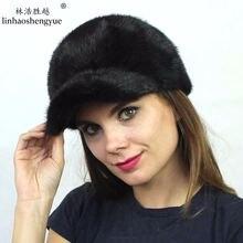 Linhaoshengyue реального норки меховая шапка покрыта мода кепка от солнца