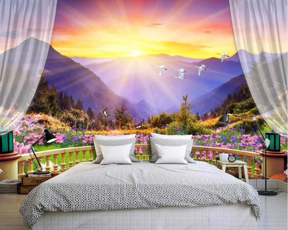 Beautiful colorful balcony mountain bedroom wallpaper for Scenery wallpaper for bedroom