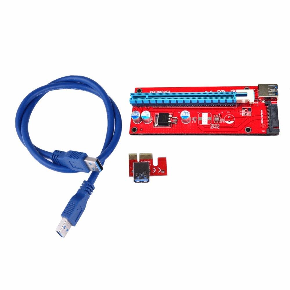 """60 ס""""מ כבל USB 3.0 PCI-E אקספרס 1x 16x כרטיס הרחבה כרטיס מתאם PCIe אקספרס כרטיס riser עבור מכשיר כריית bitcoin"""