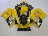 Grátis 7 presentes kit carenagem para Suzuki GSXR750 1996-2000 amarelo carenagens pretas definir GSXR 600 96 97 98 99 00 OT12
