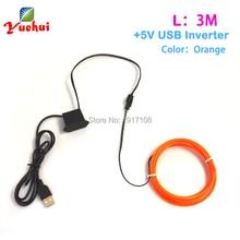 10 Color 2 3mm Waterproof 3Meter Neon Sign Flexible Glow DC 5V EL Wire Rope LED