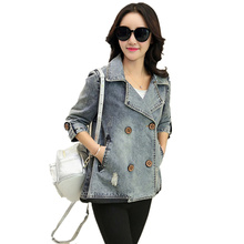 2017 New Spring and Autumn Women Casual Plus Size Loose Code Jeans Cloak Short Denim Jacket Coats Female Outerwear C132