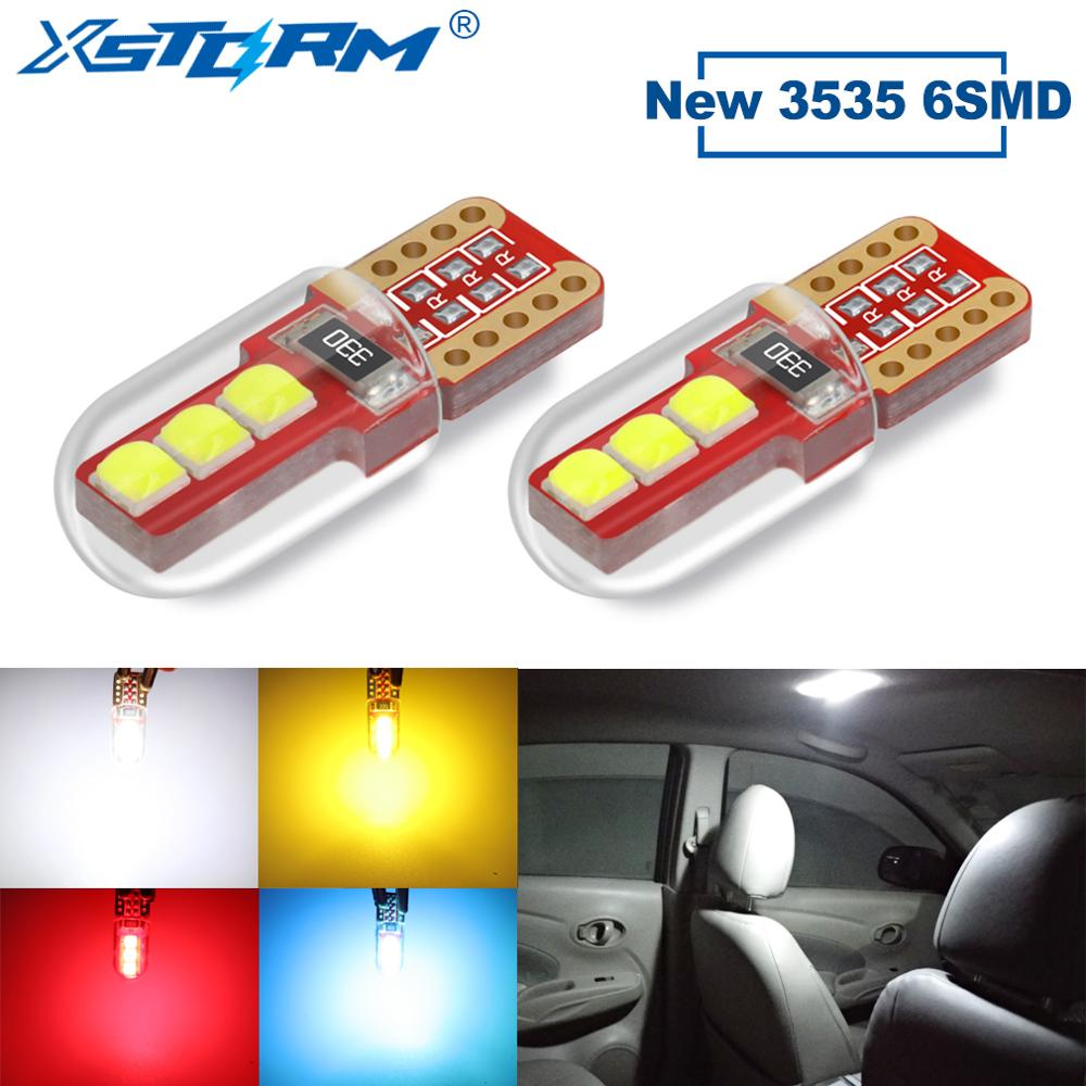 2Pcs T10 W5W Led Bulb WY5W 168 194 6SMD 3535 Car Interior Light Turn Side Dome Reading Lamp License Plate Light Auto Automobiles