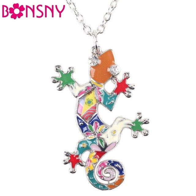 Bonsny collar gecko lagarto esmalte colgante de aleación de zinc plateado nueva joyería de moda 2016 para las mujeres declaración accesorios