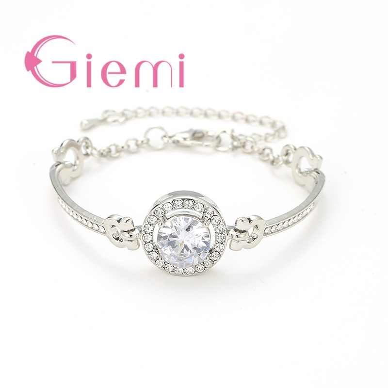 Big Round CZ Stone Charm Bracelets 925 Sterling Silver  Paved Cubic Zirconia Bangles For Women Rose Gold /Gold Color Crystal