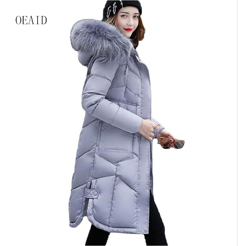 fashion snow wear large fur collar ladies coats 2017 winter coat women parka long thick slim. Black Bedroom Furniture Sets. Home Design Ideas