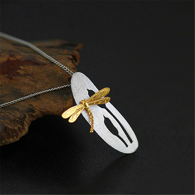 Genuine 925 Sterling Silver Pendants Handmade Women Jewelry Very Delicate Natural Leaf And Dragonfly Design Pendant Gift