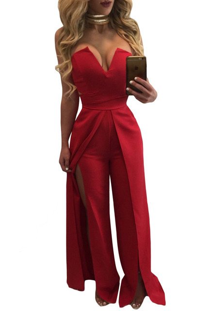 e9e9222b1d25 White Wide Slit Legs Jumpsuit 2017 Modest Fashion Women s Clothing Formal  Red Carpet Celebrity Party Playsuit