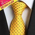 (15 Peças/lote) atacado Bolinhas 100% Homens Gravatas de Seda Clássico Tarja Geométrica Xadrez Casamento laço do Negócio Gravata XT200
