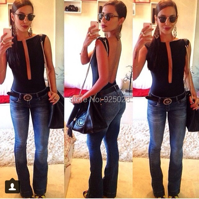 2014 New Women Body Babado Frill Peplum Blouse Top Shirts Elastic Hot Sexy Backless Jumpsuits Vintage Plus Size Drop Shipping